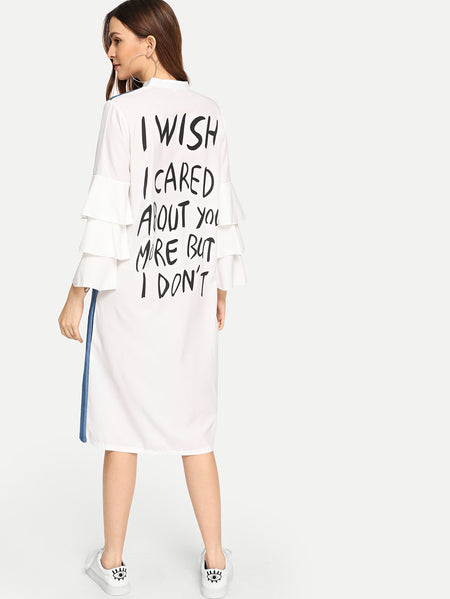 Slogan Print Back Tiered Sleeve Dress
