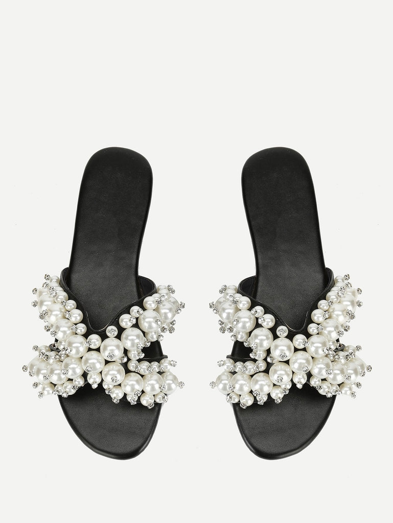 Faux Pearl Decorated Flat Slippers