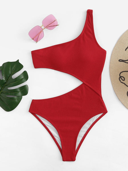 One Shoulder Cutout One-Piece Swimsuit