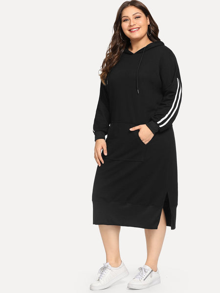 Plus Contrast Striped Side Hooded Dress