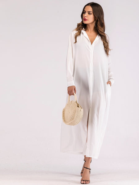 Button Through Maxi Shirt Dress