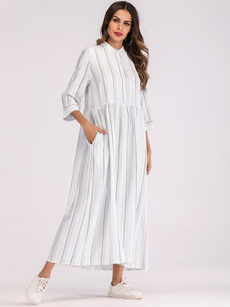 Stripe Longline Shirt Dress