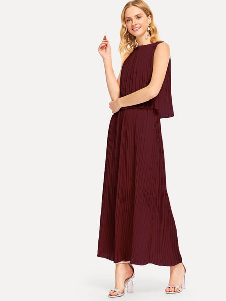 Pleated Zip Back Solid Dress