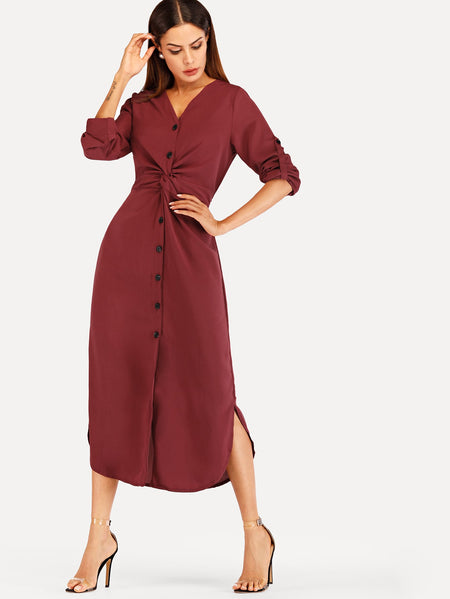 Twist Front Button Through Split Side Dress