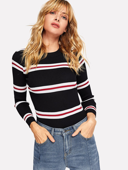 Contrast Striped Skinny Sweater