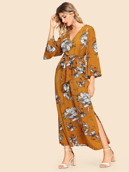 Split Side Tie Waist Floral Dress