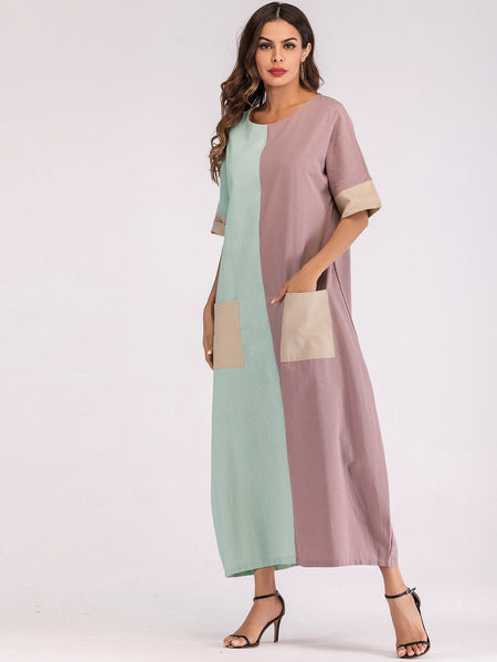 Dual Pocket Color Block Longline Dress