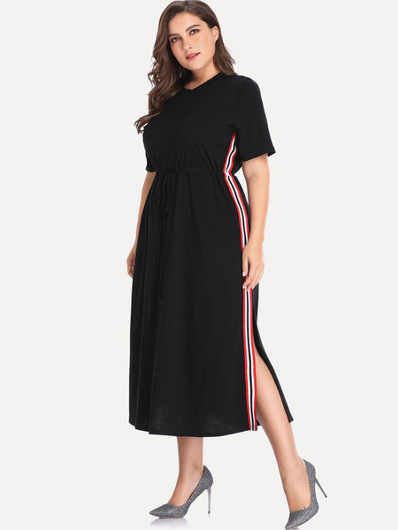 Plus Contrast Taped Side Split Detail Dress