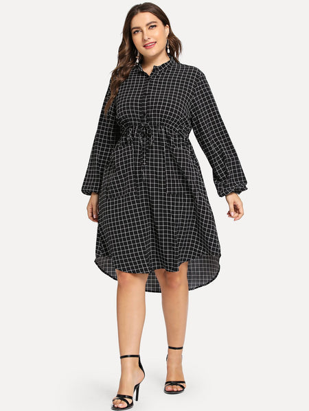 Plus Pocket Decoration Plaid Dress
