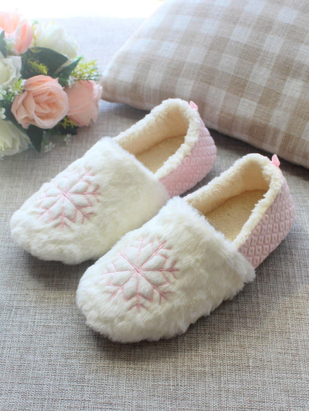 Snowflake Embroidery Fluffy Slippers