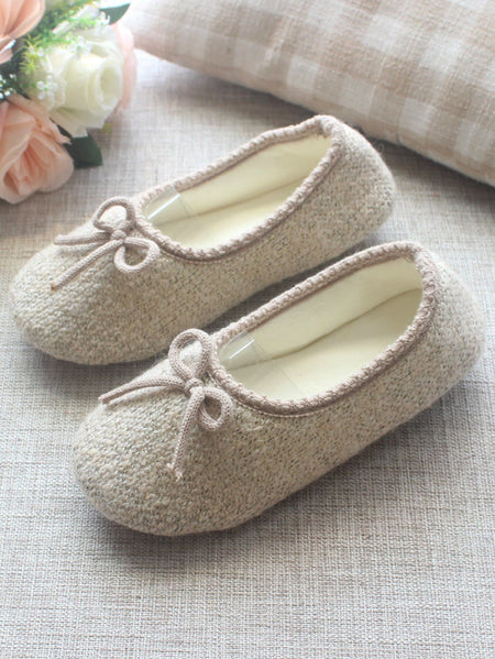 Bow Decor Contrast Trim Slippers