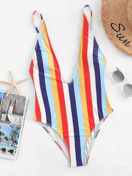 V-Plunge Striped One Piece Swimsuit