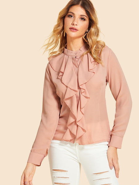 Ruffle Solid Blouse