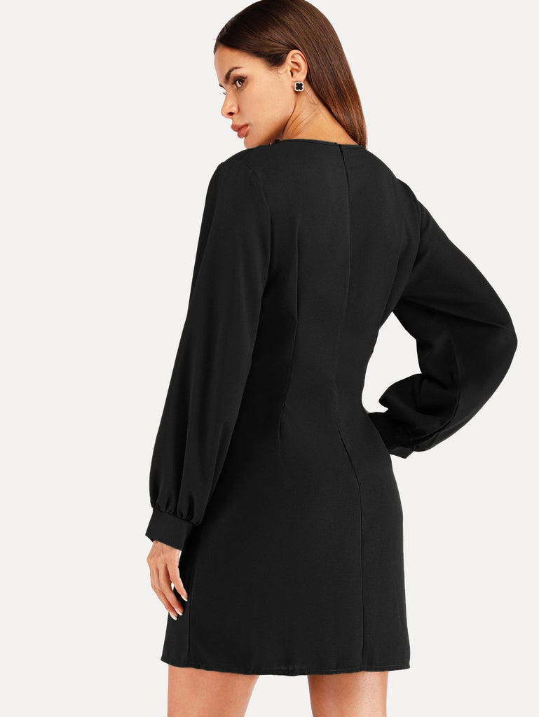 Single Breasted Bishop Sleeve Dress