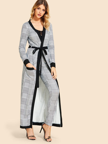 Houndstooth Self Tie Waist Outerwear With Pants