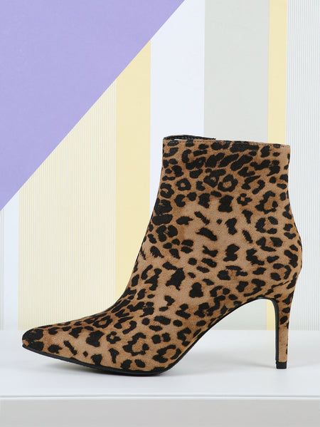 Pointy Toe Side Zip Leopard Booties