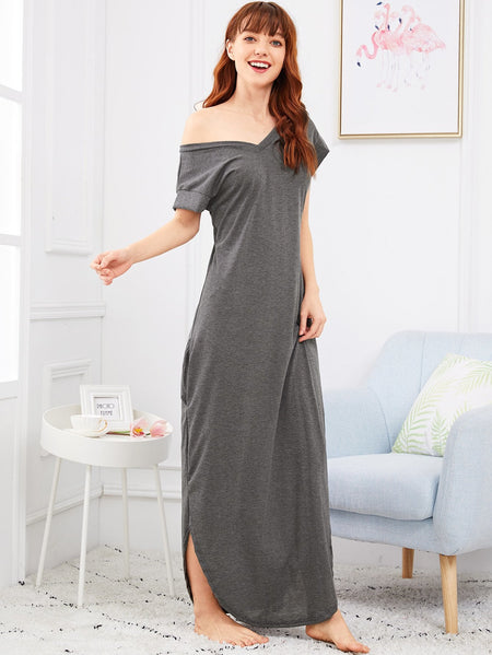 Solid Split Side Longline Night Dress