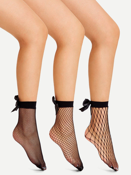 Bow Decorated Fishnet Socks 3pairs