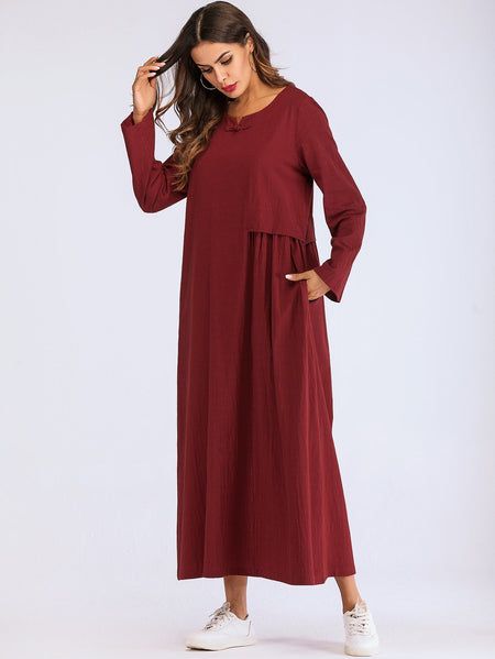 Pleated Contrast Longline Dress