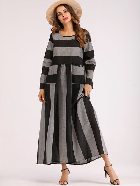Dual Pocket Block Stripe Longline Dress