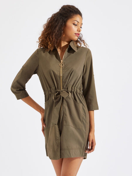 Drawstring Waist Zipper Up Utility Dress