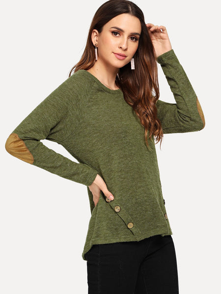 Button Decoration Solid Sweater