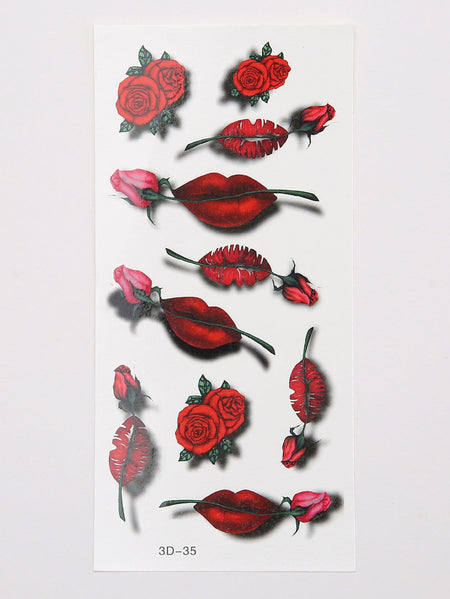 Rose & Lip Pattern Tattoo Sticker