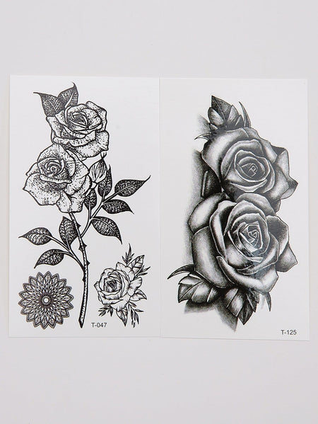 Rose Pattern Tattoo Sticker Set 2pcs