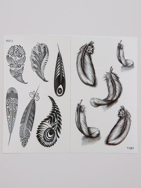 Feather Pattern Tattoo Sticker Set 2pcs