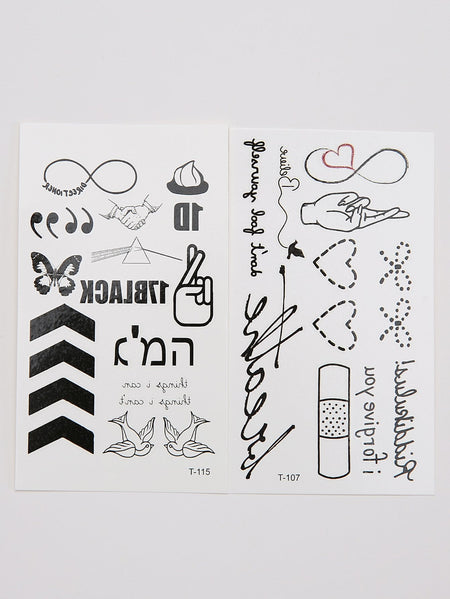 Letter & Heart Tattoo Sticker Set 2pcs