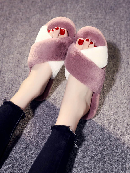 Faux Fur Cross Slippers