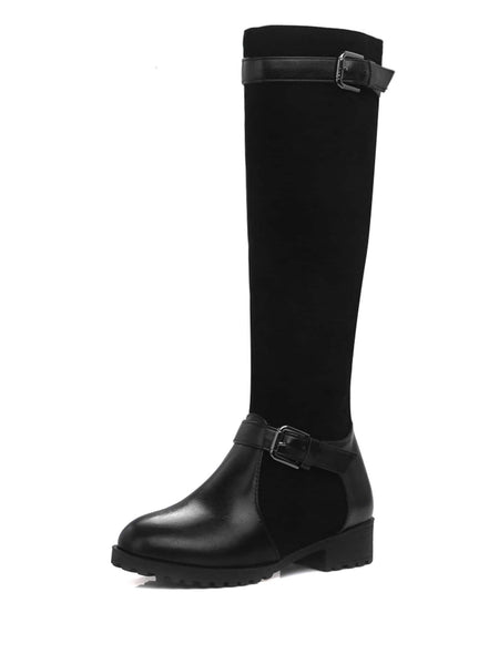 Double Buckle PU Panel Boots