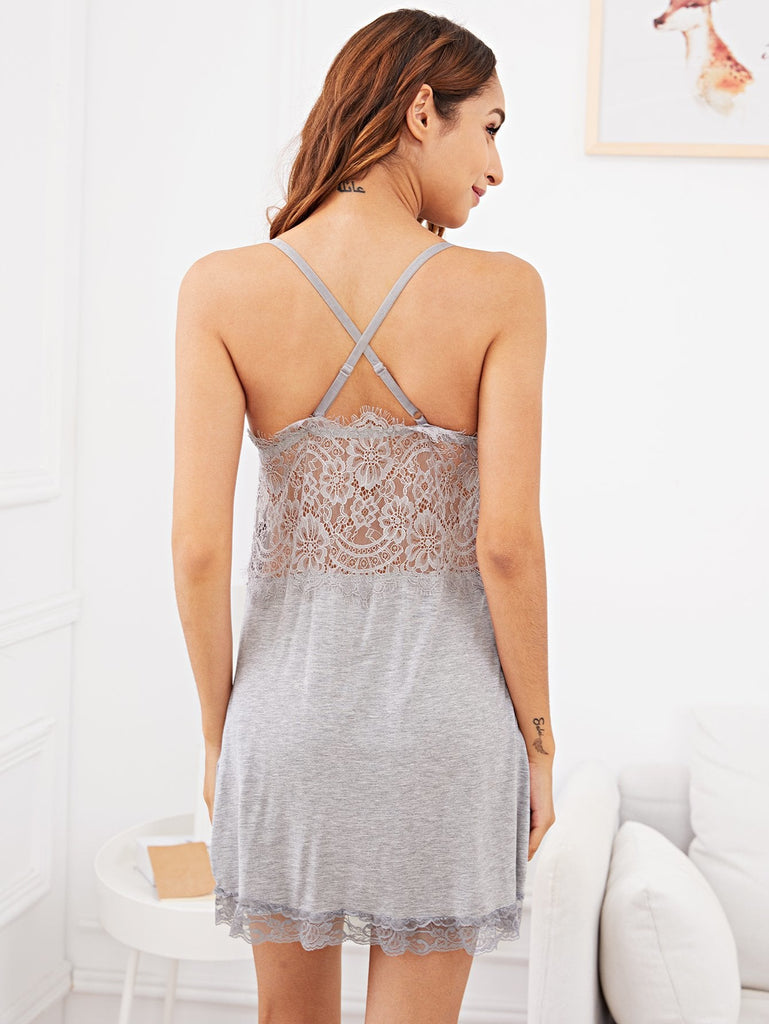 Crisscross Back Contrast Lace Cami Dress
