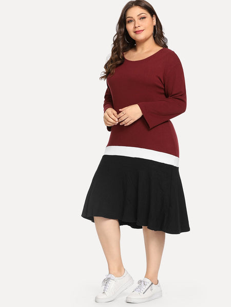 Plus Color Block Dress