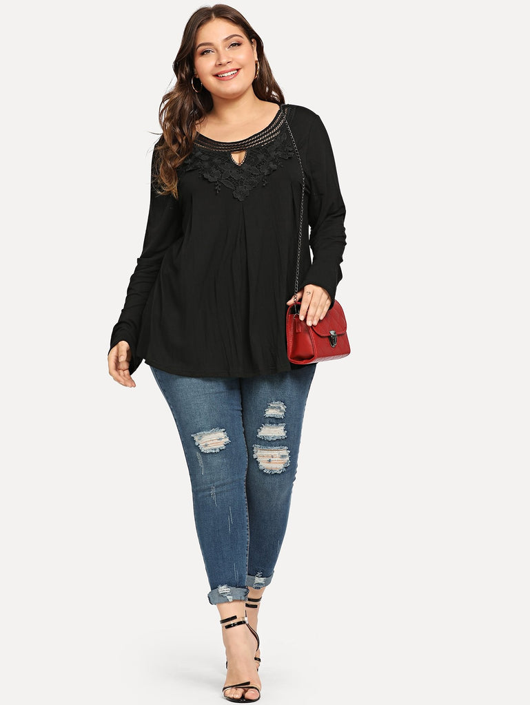 Plus Solid Contrast Lace Tee