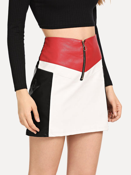 Zip Up Front Color Block Skirts