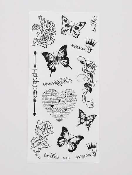 Butterfly & Rose Tattoo Sticker