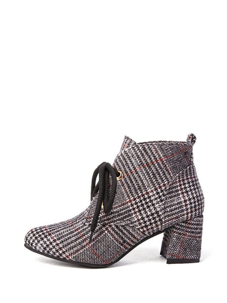 Lace Up Houndstooth Block Heeled Boots