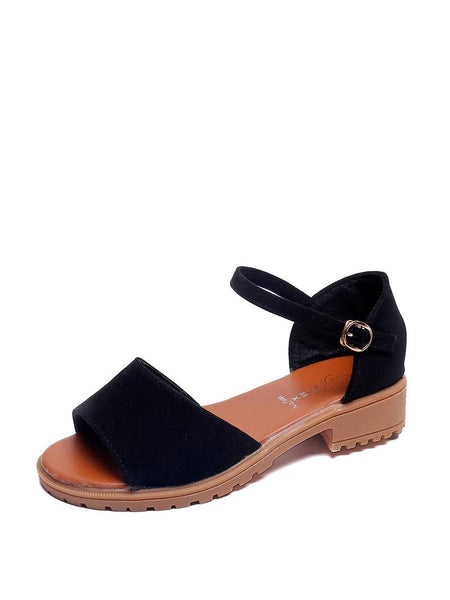 Peep Toe Single Band PU Sandals