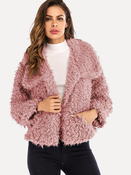 Solid Fluffy Teddy Coat