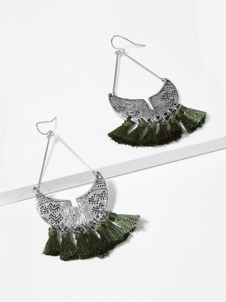 Engraved Moon Tassel Drop Earrings 1pair