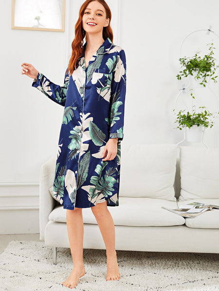 Tropical Print Button Up Night Dress