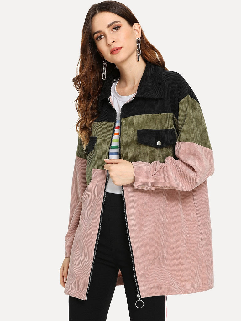 Corduroy Color Block Zip Coat