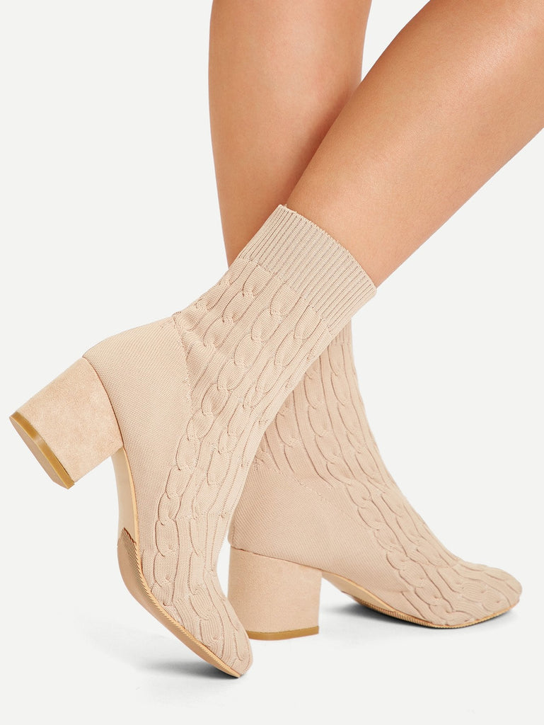 Cable Knit Sock Boots