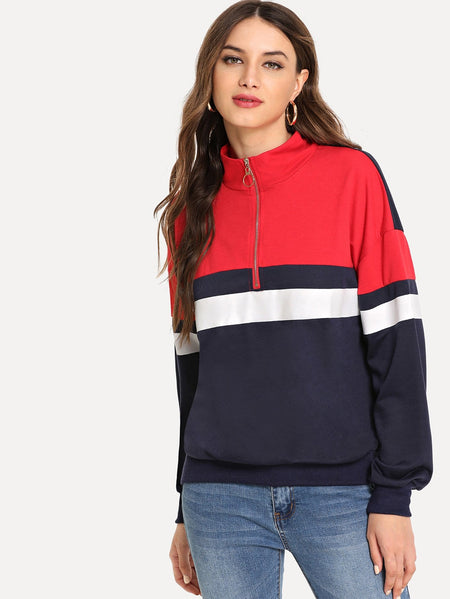 Quarter Zip Color Block Sweatshirt