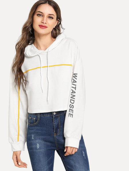 Drawstring Letter Print Hooded Sweatshirt