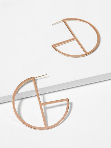 Open Cut Circle Hoop Earrings 1pair