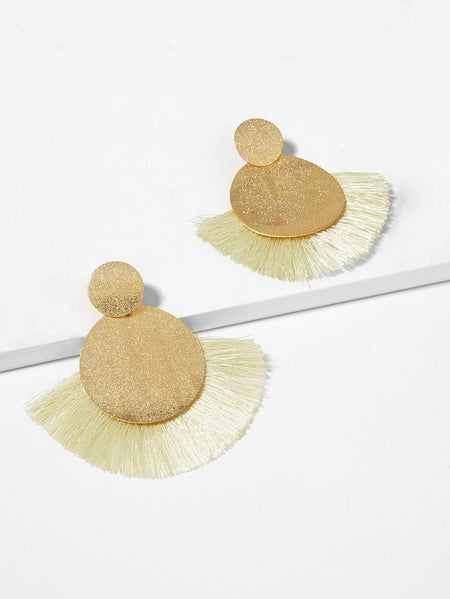 Textured Round Fan Tassel Drop Earrings 1pair