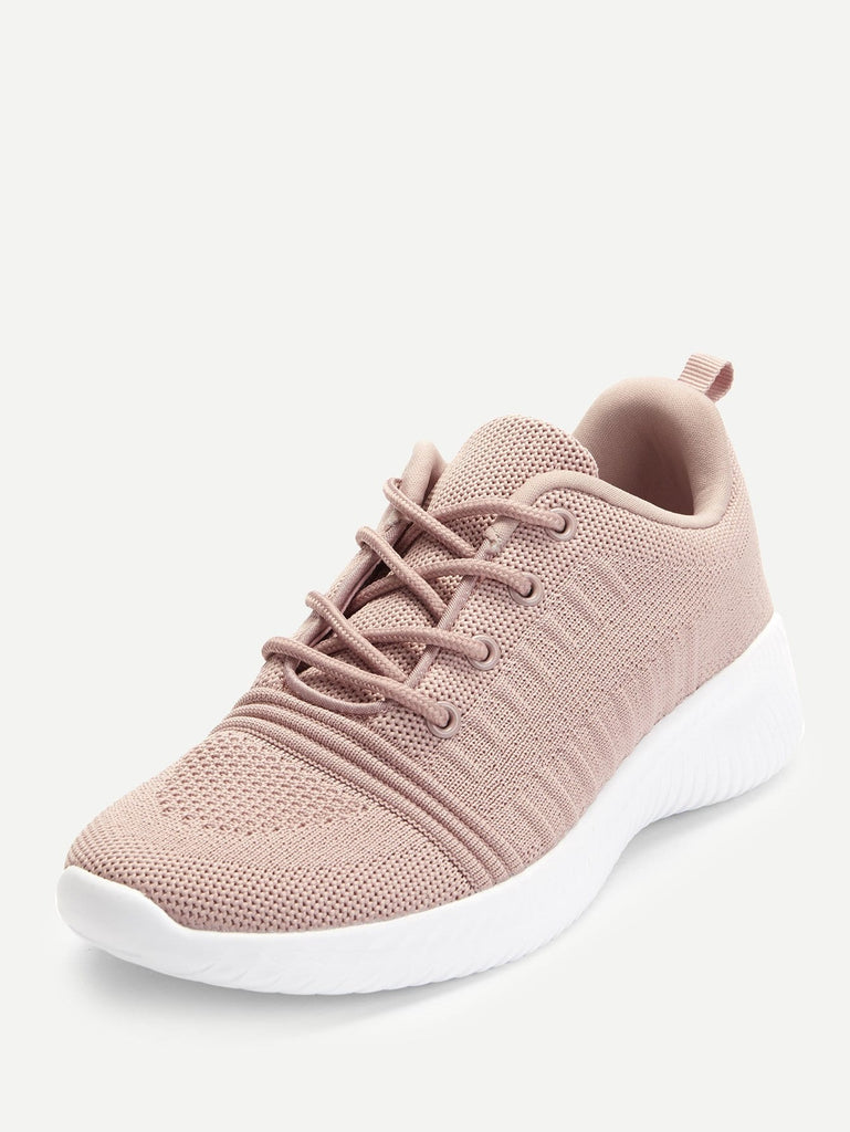 Knitted Lace Up Low Top Sneakers