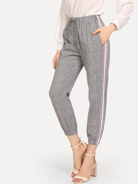 Striped Seam Plaid Pants